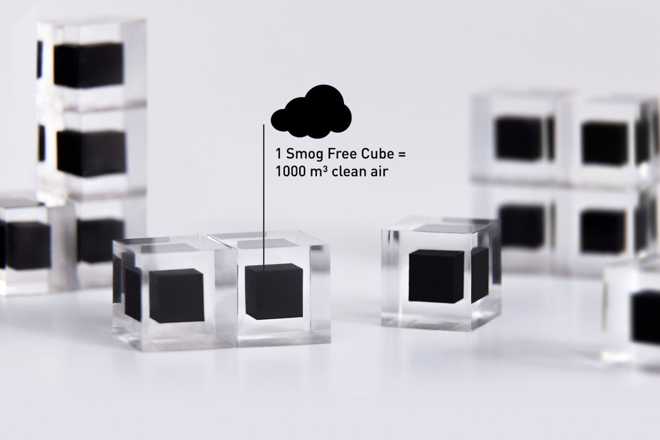 Smog Free Cubes made from smog in transparent resin
